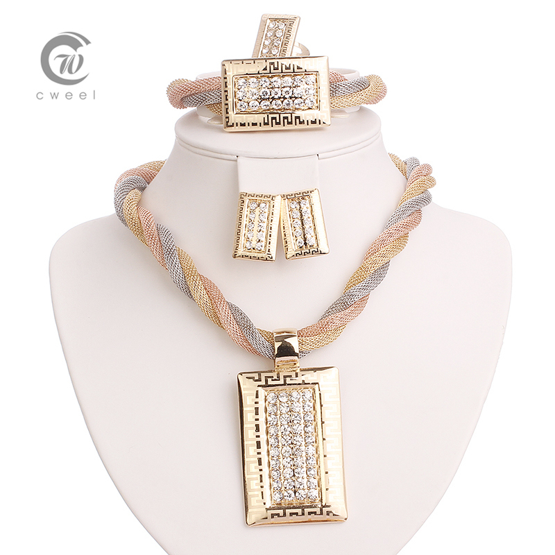 Fine African Beads Jewelry Sets Necklace Bracelet Earrings Rings Crystal Party Wedding Gold Plated Bridal Collar Accessories(China (Mainland))