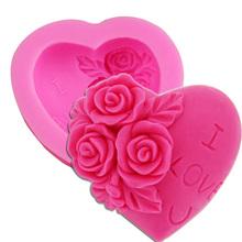 M024 DIY 3D chocolate fondant mold Cake hand molding LOVE silicone mold I LOVE u rose flower(China (Mainland))