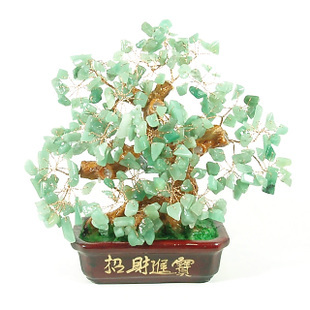 natural crystal craft tree , lucky feng shui mascot, bring wealth treasure fortune treegren - RongDe Mineral Store store
