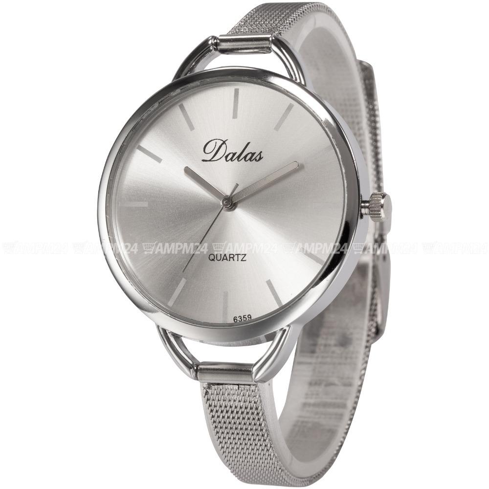 Гаджет  Fashion Design Silver White Big Dial Ultra Thin Slim Analog Alloy Band Quartz Women Ladies Dress Bangle Bracelet Watch/ WAA759 None Часы