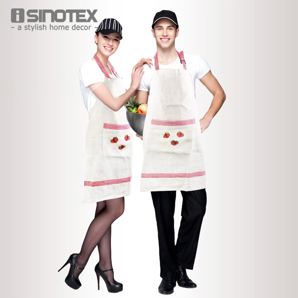 1pcs/lot Women Aprons Embroidery avental Linen Kitchen Cooking For Dining Room Barbecue Restaurant With Pocket Heart Halterneck(China (Mainland))