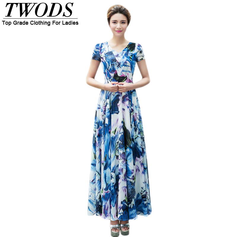 Twods Vintage Blue Chiffon Flowers V-neck Women Dress  Slim Fit Flare Maxi Long Beach Dresses Plus Size Vestido Longo Estampado