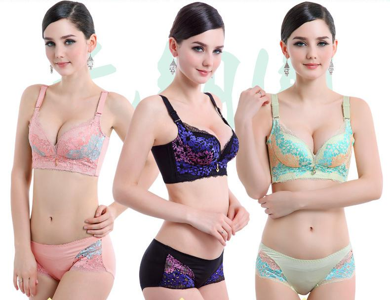 Ladies Bra 2017 Sexy Bralettes Lingerie Hot Sale Wire Free Lace Brasier Solid Embroidered 3/4 Cup Deep V Women Push Up Bras 85B