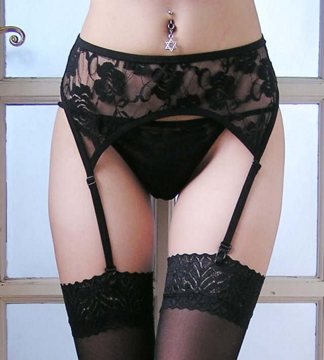 Black White Floral Lace XXXL Plus Size Sexy Garter Belt Lace Garters suspenders for women garter