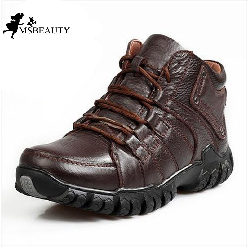 2015 Men Boots OutDoor Winter Shoes Warm cotton-padded Plush Fur Genuine Cow Leather boots plus size Waterproof+Rubber - Msbeauty store