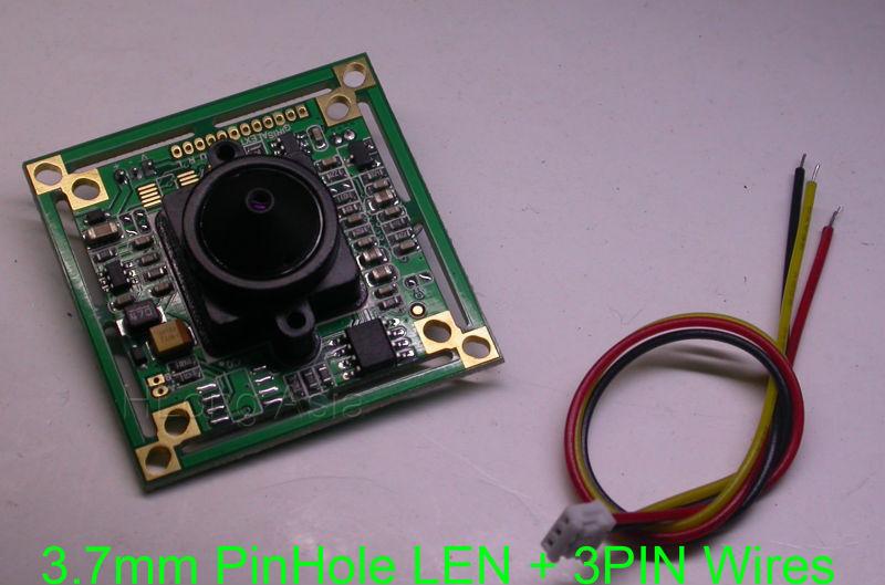 "3.7mm Pinhole LEN + Panasonic HD 1/3"" CCD image sensor board NVP2041 DSP 800TVL CCTV camera module board with 3PIN wires(China (Mainland))"