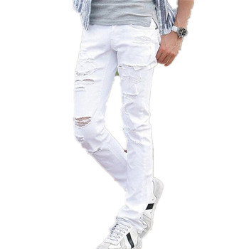 2015 New White Ripped Jeans Men With Holes Super Skinny Famous Designer Brand Slim Fit Destroyed Torn Jean Pants For Male AY991