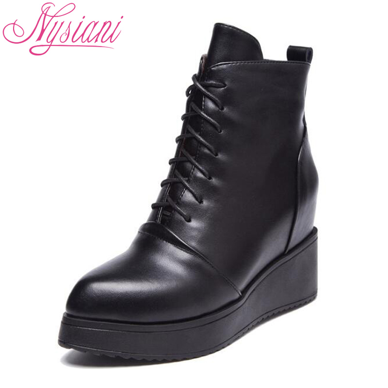 Black Leather Wedge Ankle Boots Promotion-Shop for Promotional ...