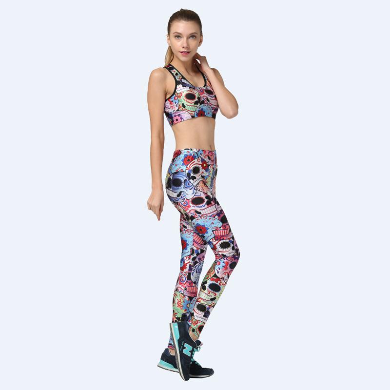 Women Female Fresh Colorful Print Fitness Set Yoga Sports Suit Girls Runnin Gym Tennis Costume Clothing set Sports Bra Pants Set(China (Mainland))
