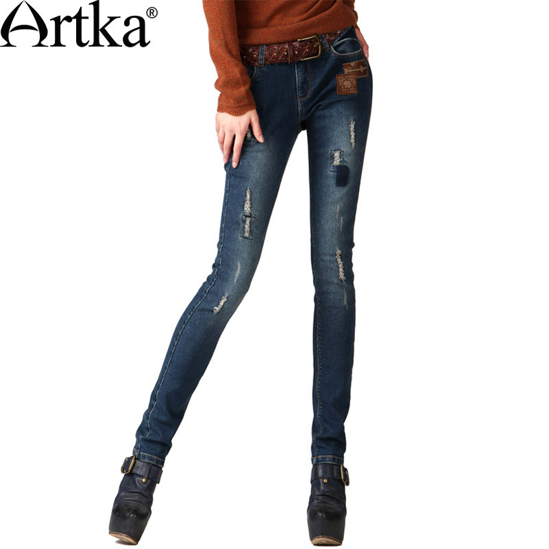 Artka Women's Autumn Casual Vintage Middle Waist Embroidery Bleached Patchwork Skinny Pencil Jeans KN16343Q(China (Mainland))