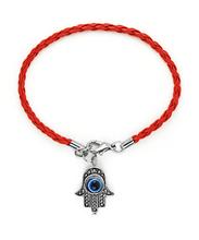 50Pcs Free Shipping Fashion Jewelry Vintage Silvers Hamsa Hand &Evil Eye Fatima Red Leather Bracelet &Bangles DIY Jewelry N1965(China (Mainland))