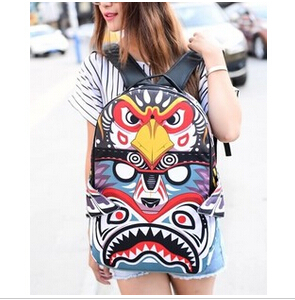 2015 new women personalized backpack hot female eagle pattern kite backpack owl colorful school backpack#P0201(China (Mainland))