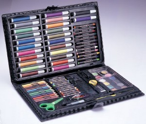 Bling Recommend Top.1Seller Free Shipping Gift box 86 piece Set Paint Brush Crayon Watercolor Pen School Supplies Set