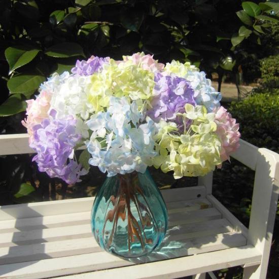 Realistic Light Purple Mini Hydrangea Artificial Fake Flower Arrangement Home Hotel Wedding Decoration(China (Mainland))