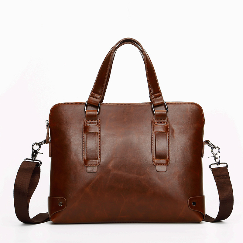 2015 New Arrival Fashion Man Bag Business Briefcase Vintage Crazy Horse PU Shoulder Messenger Bag Casual Handbag Free Shipping(China (Mainland))