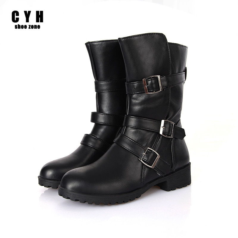 Soft PU Leathe Buckle Autumn Winter Elegant Women Mid-Calf Fashion Boots Round Toe Height Increasing Brown Black Ladies Shoes<br><br>Aliexpress