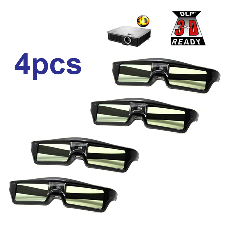 Free Shipping!!4pcs/lots 3D glasses Active shutter rechargeable for BenQ W1070 Optoma GT750e DLP 3D Emitter Projector Glasses(China (Mainland))
