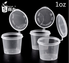 free shipping disposable food containers 1oz small cup sauce disposable plastic seasoning box sauce cup transparent lid 100(China (Mainland))