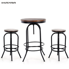 IKAYAA 3PCS Natural Pinewood Top Bar Pub Bistro Table Chair Set Industrial Style Swivel Kitchen Dining Breakfast Coffee Table US(China (Mainland))