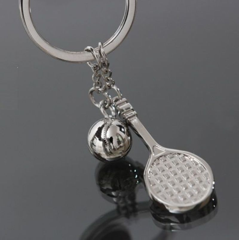 Fashion alloy mini Tennis racket tennis ball Keychain men women sport lover Keyring Key Chain jewelry Gift(China (Mainland))