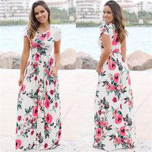 נשים ארוך מקסי שמלת 2019 קיץ פרחוני הדפסת Boho חוף שמלה קצר שרוול ערב המפלגה שמלת טוניקת Vestidos בתוספת גודל XXXL(China)