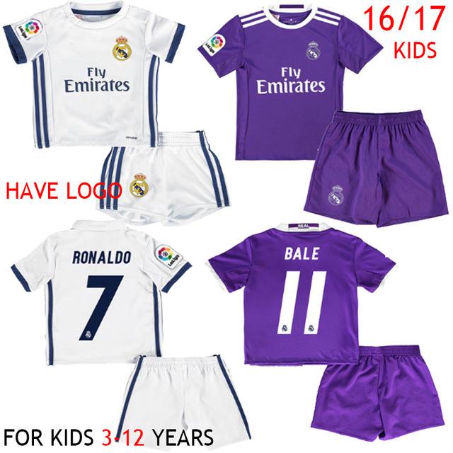 Top quality 2016 2017 Kids Reals Children soccer shirts set boyes Kids Kit Unifrom 16 17 camiseta(China (Mainland))