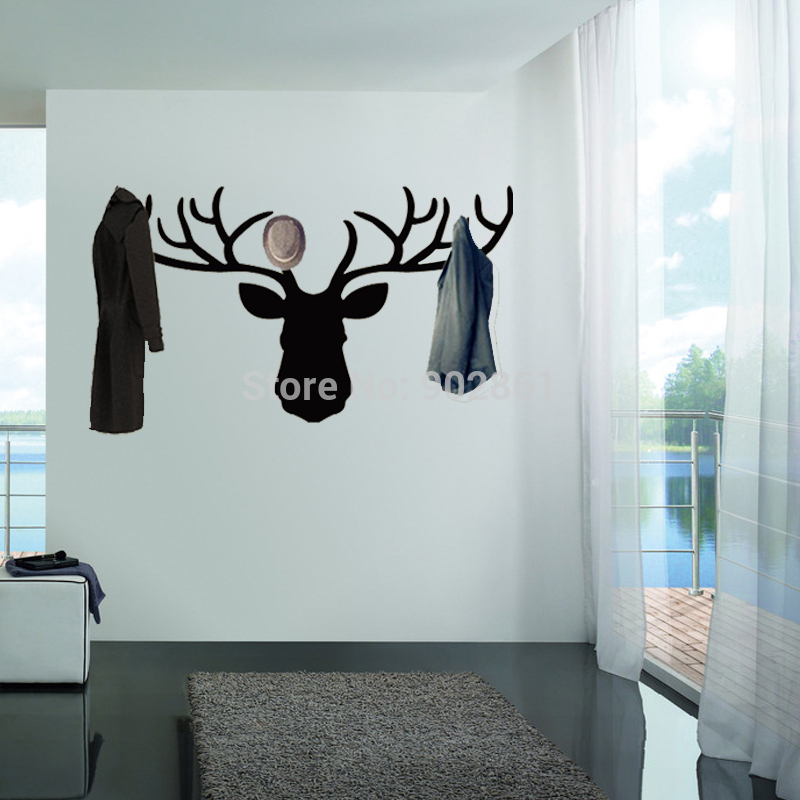 belle autocollant mur de cerfs percheros decorativos pared cerfs rennes portemanteau wall decal. Black Bedroom Furniture Sets. Home Design Ideas