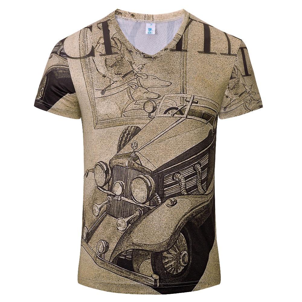 2016 new men's V-neck T-shirt fashion style 3D printing male sweatshirt top quality men's clothing Free Shipping(China (Mainland))