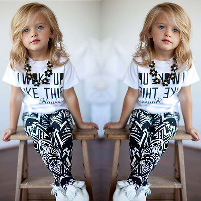 Baby Girls Stripe I Woke Up Like This Toddler shirt and Pants Outfits Set 2 to 7Y(China (Mainland))