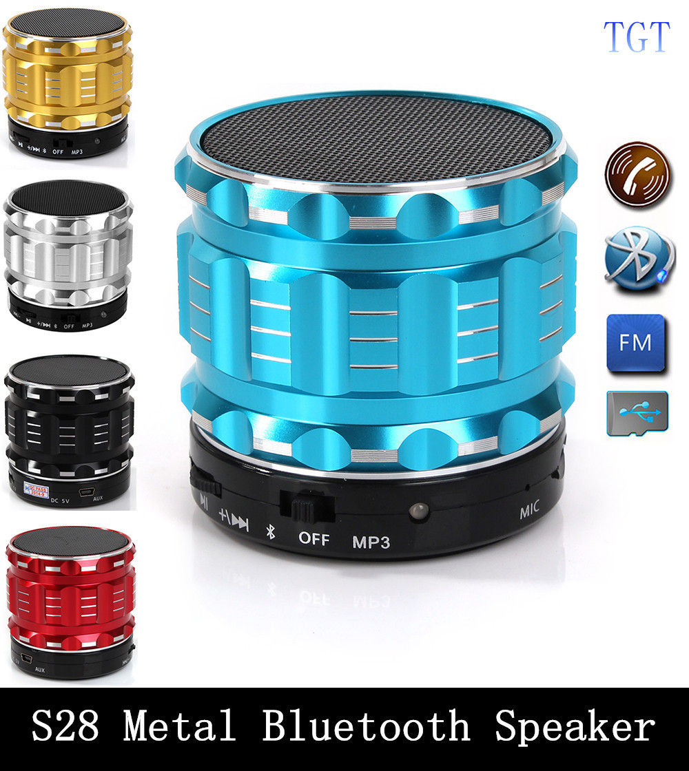S28 Metal Mini Portable Bluetooth Speaker Mic TF Card Slot Stereo Speakers for mobile phone Laptop MP3 MP4 Player(China (Mainland))