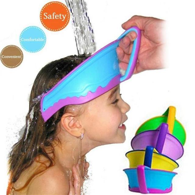 Новый ванны козырек шляпа, Регулируемая ребенка шапочка для душа защитить шампунь, ...