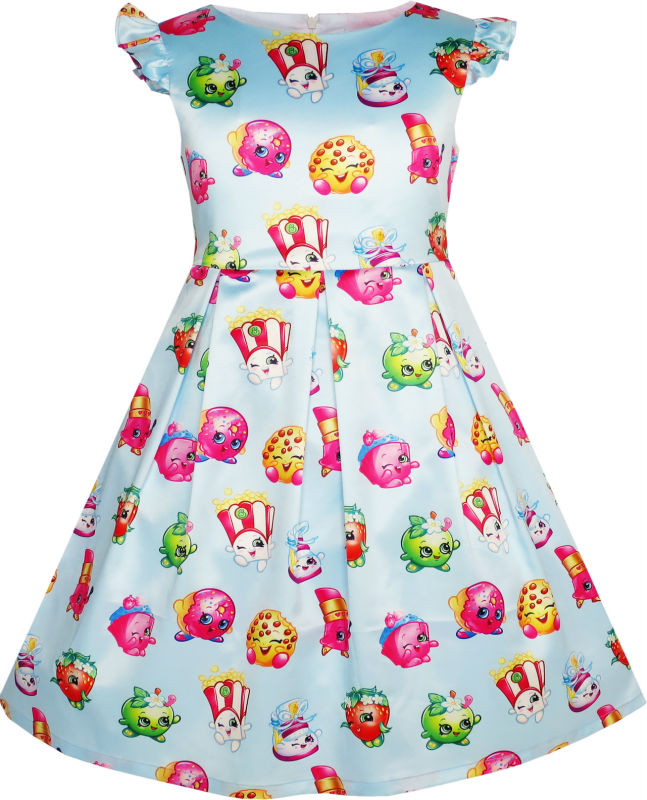 Sunny Fashion Girls Dress Apple Blossom Strawberry Kiss Poppy Corn 2017 Summer Princess Wedding Party Dresses Clothes Size 4-12(China (Mainland))