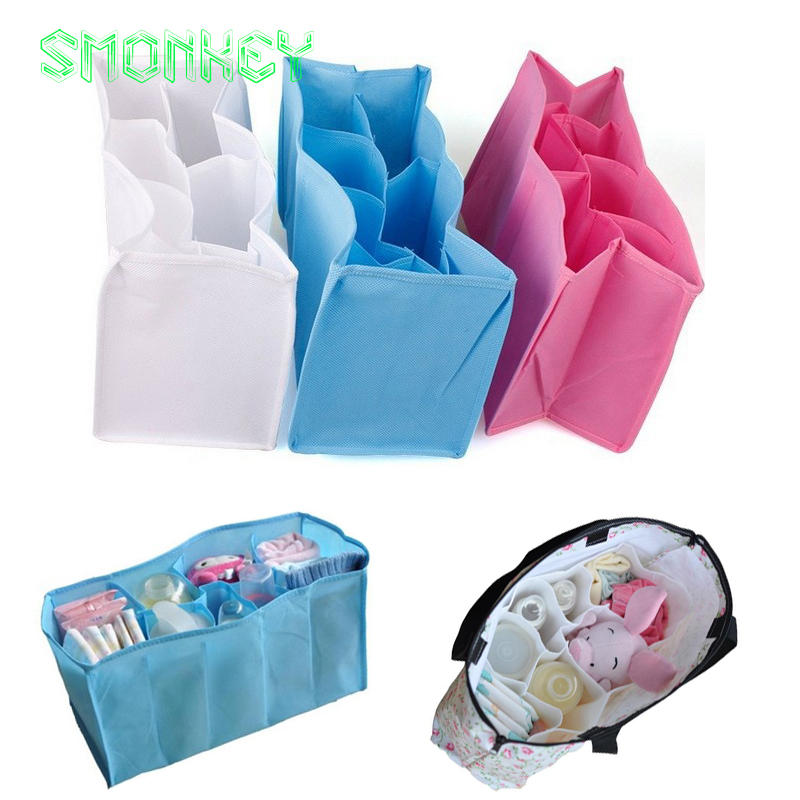 new Baby Diaper Nappy Changing Storage Bags Inner Containers Maternity Handbag Multi Liners Lining Divider blue pink S M L Sizes(China (Mainland))