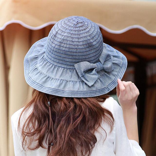 Женщины джинсовой ведро с луком омывается летний матчей за женщину от загара шляпу ...
