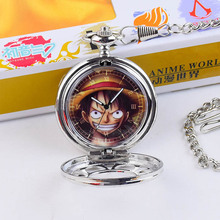 Fashion Casual Quartz Pocket Watch Anime One Piece Theme Exquisite Hollow Necklace Pocket Watch Couple Kids Gift with new box(China (Mainland))