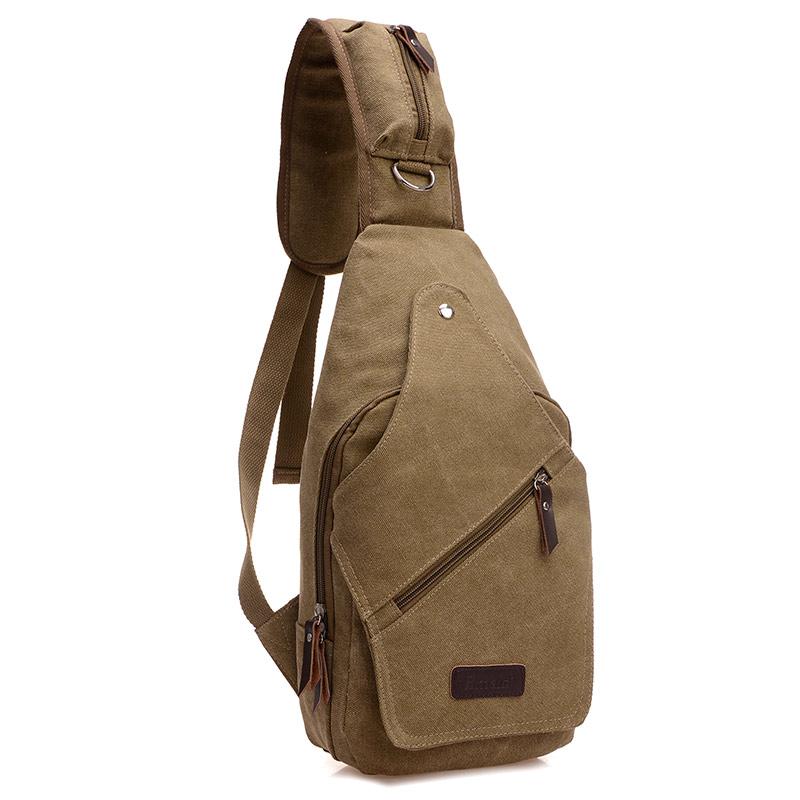 Men's Canvas Leather Travel Hiking Messenger Shoulder Back pack Sling Chest Bag(China (Mainland))