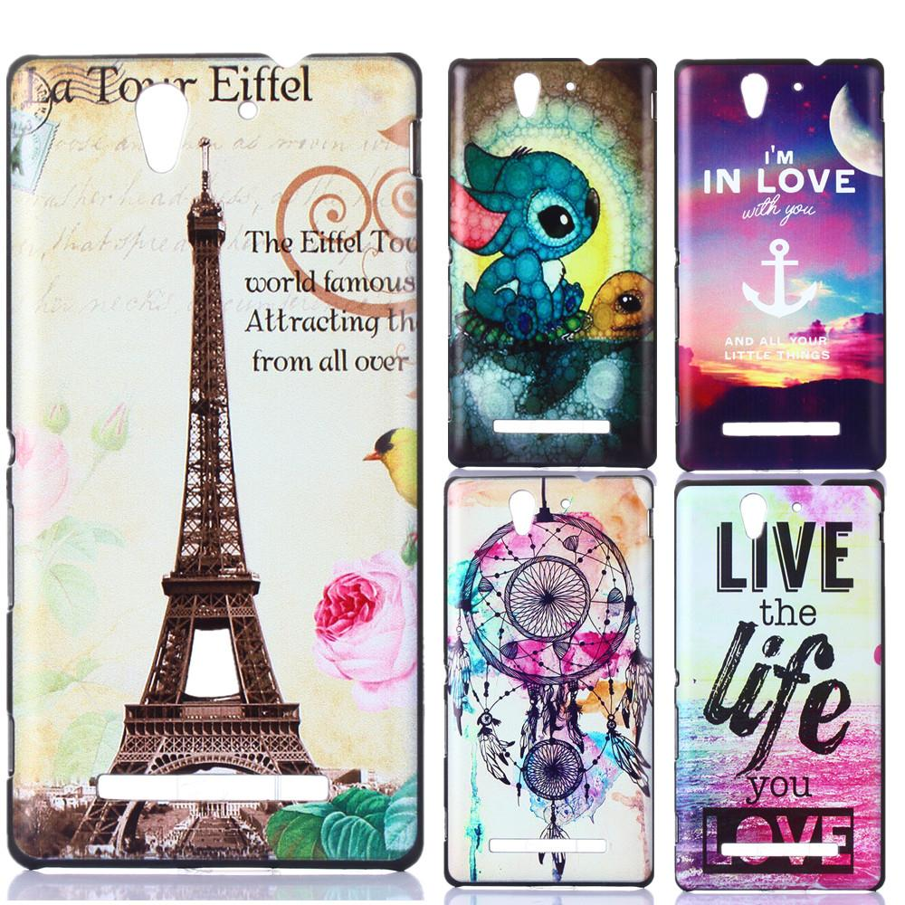 15 Designs Art Printed Giraffe Cat Animal Pattern PC Hard Back Cover Protective Case for Sony Xperia C3 D2533 D2502(China (Mainland))