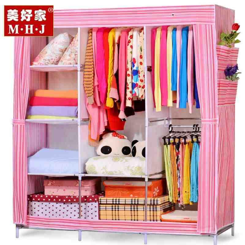 Гаджет  Beautiful home simple wardrobe large reinforce steel cloth wardrobe closet simple cloth cabinet with large capacity None Мебель