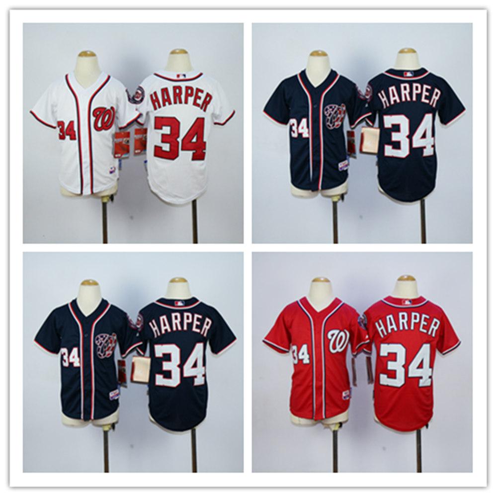 Washington Nationals 34 Bryce Harper  2015 Youth Baseball Jersey Jersey Free Shipping Girls Boys Mix Order