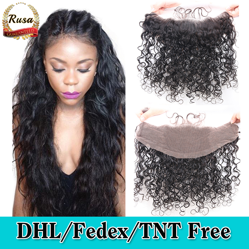13x4 Ear to Ear Lace Frontal Closure Water Wave Virgin Brazilian Human Hair Water Wave Full Lace Frontal Closure With Baby Hair