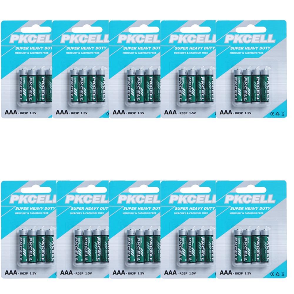 40pcs 4pcs card 10 AAA R03P 1 5V 45min Carbon Zinc i e super heavy duty