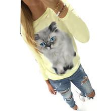Women Long Sleeve T Shirt Cat Pattern Camisetas Mujer Tee Shirt Femme Women Tops T-Shirt Femme Roupa Feminina(China (Mainland))