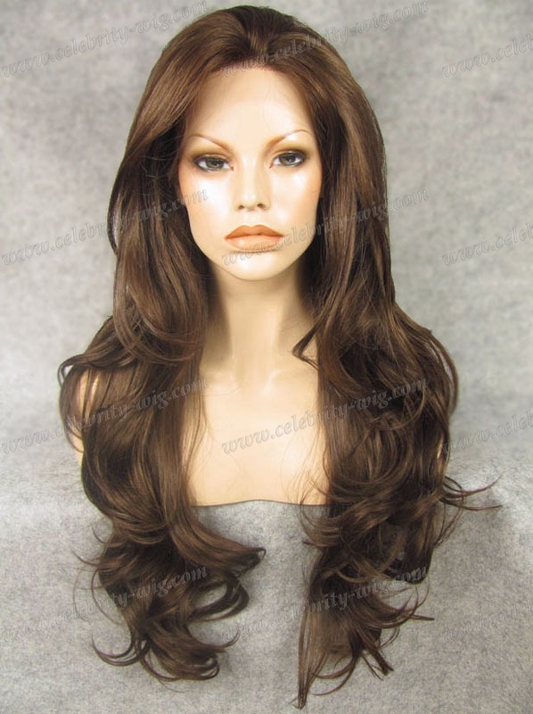 N12-6/8 Best Sales Top quality extra long brown curly synthetic lace front wig Free Shipping Haifa Wehbe Wig(Hong Kong)