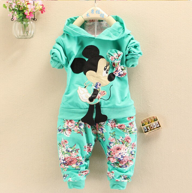 2016 Spring Autumn baby girls christmas outfits Sport suit clothing set children hoodies pants kids minnie mouse clothes sets(China (Mainland))