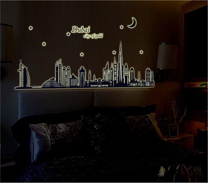 Dubai landscape luminous fluorescent wall stickers wallpaper bedrooms vinyl big wall stickers home decor wall art decals(China (Mainland))