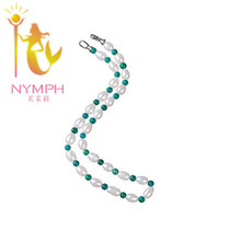 NEW NYMPH pearl necklace, real natural freshwater pearl and turquoise.8-9 mm  drop, Exclusive design,gift for girl [NYXL1008](China (Mainland))