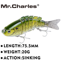 Mr.Charles CMCS 056  fishing lures   75.5mm/20g singking quality professional 7 Segment Swimbait Crankbait Hard Bait(China (Mainland))