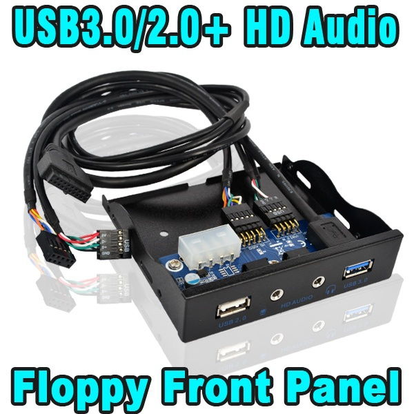"""20 Pin 3.5"""" 4 Ports USB 3.0 Hub USB 2.0 Hub HD Audio Mic for Internal 3.5 Inch Floppy Disk Bay Front Panel Bracket Cable Adapter(China (Mainland))"""