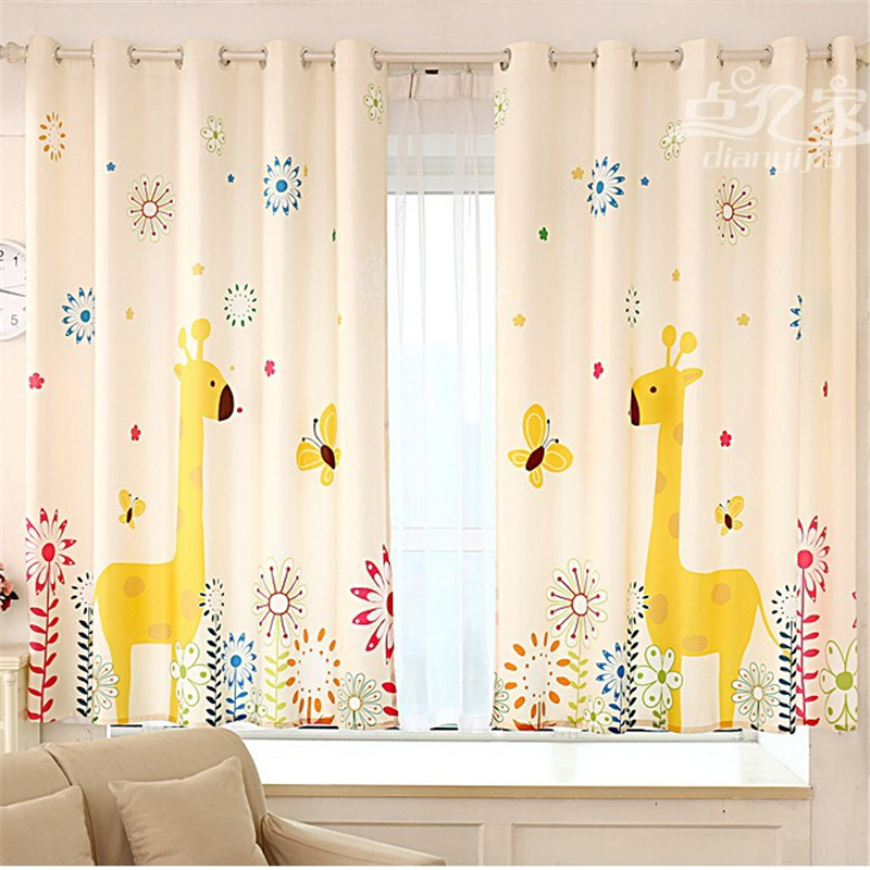 Green Print Children Curtains Cartoon Floating Bedroom Curtains ...