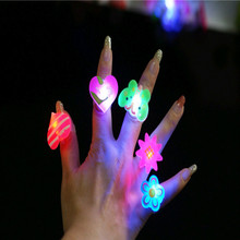 Flashing rings best Selling soft rubber led toys Cartoon flash brooch funny bling toys Party Celebration Rings(China (Mainland))